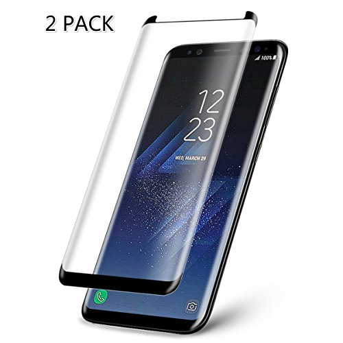 [2 PACK] Galaxy S8 Plus Tempered Glass Screen Protector, Magicmoon PREMIUM Strengthened Clear Anti-Bubble Scratch Proof for Samsung Galaxy S8 Plus [98% Half Cover][Case Friendly] Samsung Cell Phone Covers