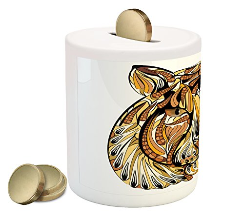 Ambesonne Tattoo Piggy Bank, Head of Lion with Feather Art on His Mane Native American Design Print, Printed Ceramic Coin Bank Money Box for Cash Saving, Yellow Brown and White ()