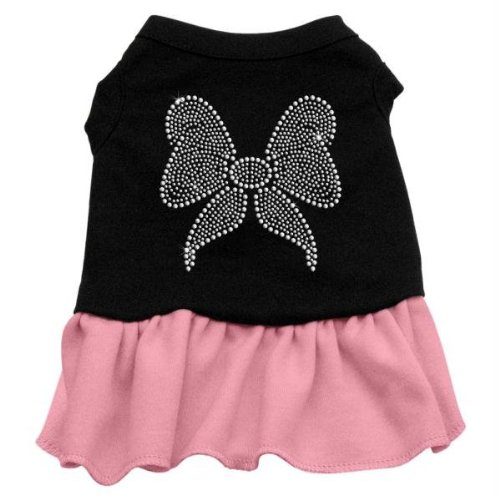 Cheap Mirage Pet Products 57-09 LGBKPK 14″ Rhinestone Bow Dresses Black with Light Pink, Large