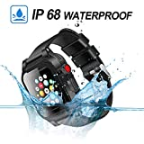 Waterproof Apple Watch Case 38mm Series 2 & 3 with 2 Soft Silicon Band, Meritcase IP68 iWatch Waterproof Case with Built-in Screen Protector for 38MM Apple Watch Series 3/2
