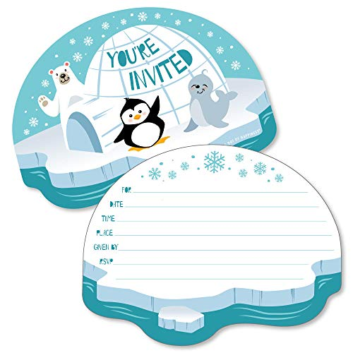 Polar Bear Invitations (Arctic Polar Animals - Shaped Fill-in Invitations - Winter Baby Shower or Birthday Party Invitation Cards with Envelopes - Set of)