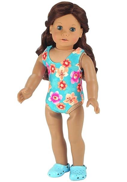 879f81f13 Amazon.com: Doll Bathing Suit fits American Girls Dolls, Aqua 18 Inch Doll  Swim Suit in Stretchy Fabric: Toys & Games