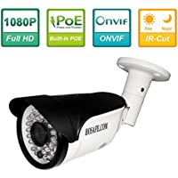 HOSAFE Full HD 1080P Bullet Outdoor Security Camera POE IP Camera,1920X1080 Resolution,20Meter Night Vision,IP66 Waterproof,Support Remote Viewed by Iphone,Andriod Phone,Pad and Windows PC