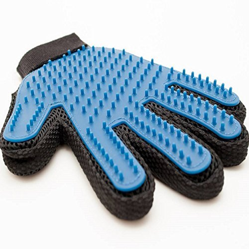 TENKEY Pet Grooming Brush Glove - For Long Short Or Curly Hair Comb - Gentle Massage Tool And Hair Removal For Dogs Cats and Horses - Professional Pet Deshedding Grooming Glove For Healthy Coat