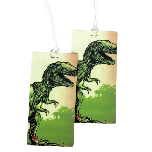 Park Tags (T-Rex Dinosaur Luggage Tag Set - 2 pc, Large by 11:11 Enterprises)