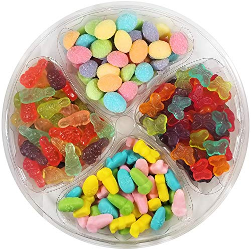 Gift Easter Tray - Happy Bites Easter Candy Mix Party Tray - Gummi Bunnies, Eggs, Butterflies & Easter Inspired Mellocreme - Resealable, 2.5 lbs (40 oz)