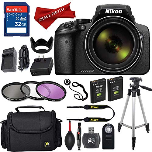 Nikon COOLPIX P900 Digital Camera with 83x Optical Zoom and Built-in Wi-Fi (Black) with High Speed 32GB Memory Card + Extra Battery and - Camera Nikon Card Memory