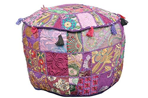 Marudhara Fashion Indian Pouf Footstool Ethnic Embroidered Pouf Cover, Indian Cotton Round Pouffe Ottoman Pouf Cover Pillow Ethnic Decor Art - Cover Only (22x14inch)