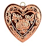 Old Dutch Solid Heart Rose Baking Mold, Copper
