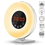 Wake Up Light,Sunrise Alarm Clock,Digital Simulation Sunset Alarm Clock Bedside Lamp With Nature Sounds, FM Radio,7 Colors Night Light,LED Mood Night & Smart Snooze Function,By E-Starlet