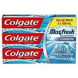Colgate MaxFresh Whitening Fluoride Gel Toothpaste, Cool Mint, 3 X 150 mL