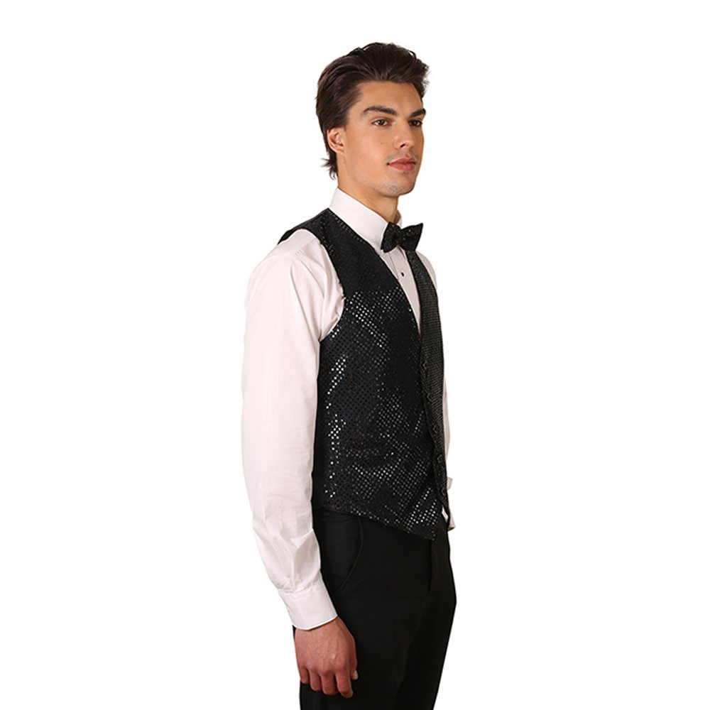 Mens Sequins Vest At Amazon Clothing Store Dasi Neck Tie Slim Polos Wedding Best Man Square Orange Black