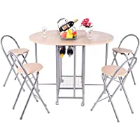 Set Dinnig Table Foldable Dinner Set 1 table and 4 Chairs Breakfast Kitchen Furniture