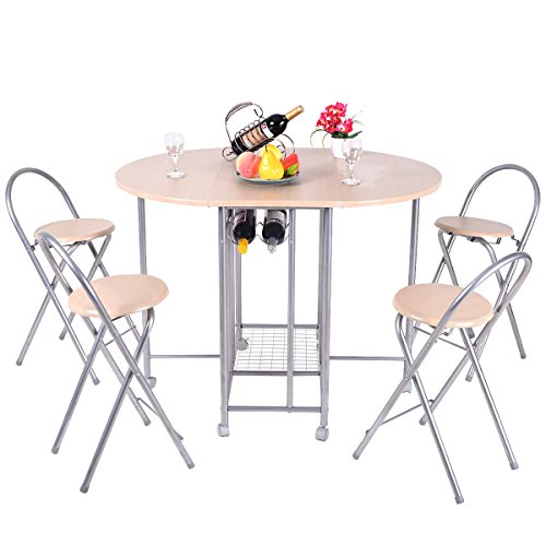 Gold Octagon Plastic Plates (5 PC Foldable Dining Set Table and 4 Chairs Breakfast Kitchen Furniture + FREE E-Book)
