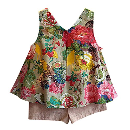Lisin 2PCS Toddler Kids Baby Girls Outfit Clothes Floral Vest T-Shirt+Shorts Pants Set (Size:6/7Years, Green)