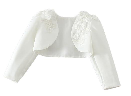 13981db37c04 Amazon.com  Snowskite Little Girls White Long Sleeves Satin Flower ...