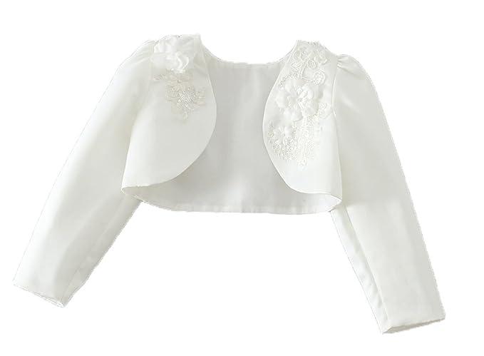 e32852ce68a0 Snowskite Little Girls White Long Sleeves Satin Flower Girl Bolero ...