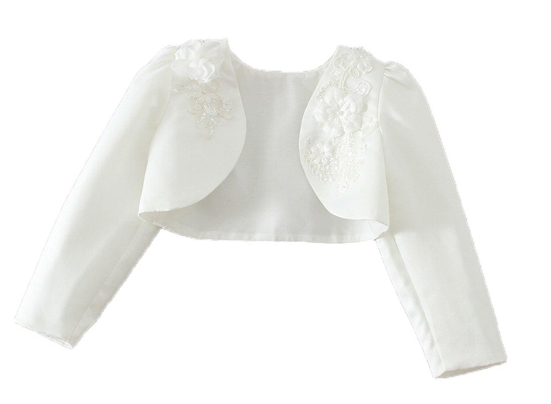 Snowskite Little Girls White Long Sleeves Satin Flower Girl Bolero Jacket Cover 4