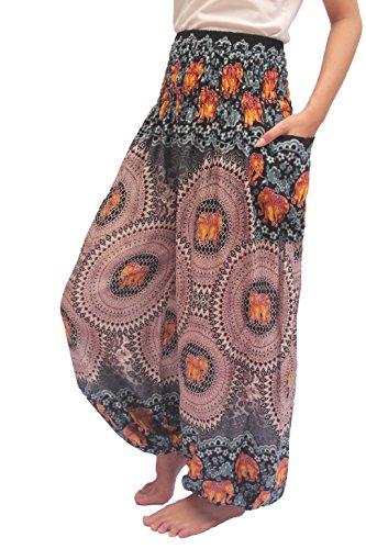 ChiangmaiThaiShop Harem Pant Yoga Bohos Extra Size For Men & Women Elastic Waist smocks Rayon (C-Light Brown, Large)