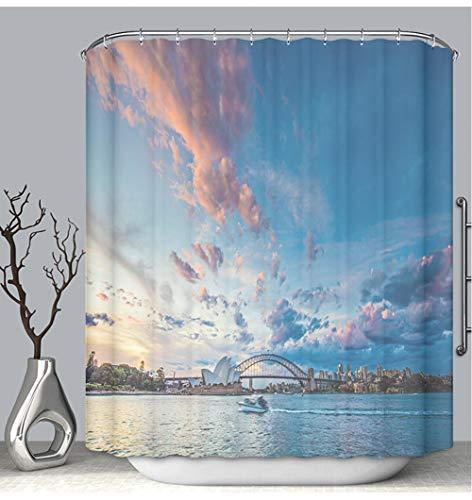 (BEICICI Shower Curtain Liner Anti-Mildew Antibacterial Beautiful Sunset in Sydney Custom Shower Curtain Bathtub Bathroom Accessories 72W×87Linch)