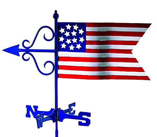 Good Directions Americana Flag Cottage Weathervane with Roof (Good Directions Cottage Weather Vane)