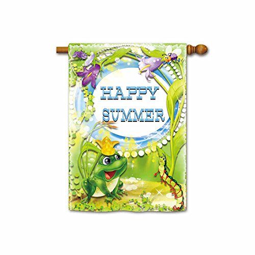 Kafepross Fuuny Summmer Day Frog and Centipede in The Flowers House Flags 28