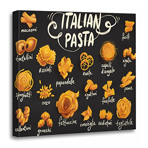(TORASS Canvas Wall Art Print Cuisine Italian Pasta Food Drawing Gourmet Spaghetti Artwork for Home Decor 20