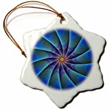 3dRose David Zydd - Colorful Abstract Designs - Path to Meditation - blue colorful fractal design - 3 inch Snowflake Porcelain Ornament (orn_286803_1)