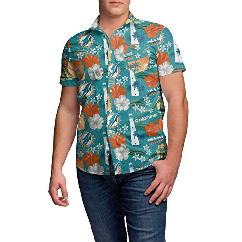 NFL Miami Dolphins Mens Thematic Print Tropical Floral Button Up ShirtThematic Print Tropical Floral Button Up Shirt, Team Color, -