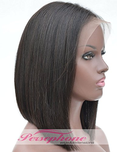 Short Bob Wig Human Hair Lace Front Wigs For Black Women Side Part Best Brazilian Remy Straight Hair Human Hair Lace Wig With Baby Hair 150 Density 12 inches Natural Color by Persephone
