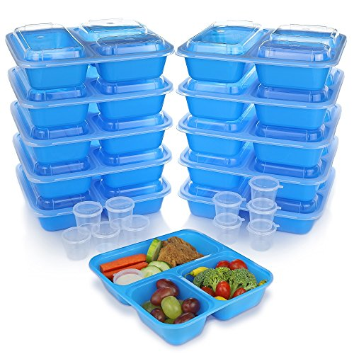 Meal Prep Containers w/Lids. 10-Pack Reusable 3 Compartment (36 oz) Microwave & Dishwasher Safe. BPA Free Plastic Bento Box Best for Food Storage, Portion Control & Weight Loss. BONUS 10 Sauce Cups!