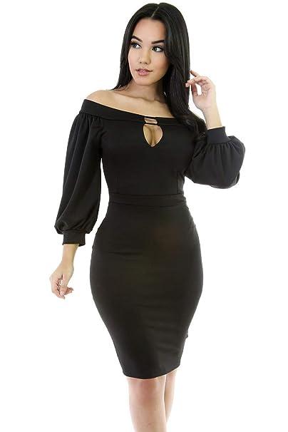 d3dfcb76bc Black Off Shoulder Puffed Sleeve Midi Dress Evening Dress Club Wear Party  Office Work Wear Size UK 10-12: Amazon.co.uk: Clothing