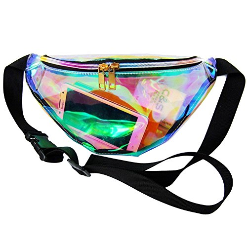 Mounchain Waist Packs By Women's Shiny Laser Holographic Waist Fanny Packs with Adjustable Waistband-Smartphone Money Coins Keys Passport Holder Transparent by Mounchain