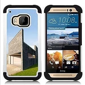 - Architecture Modern House/ H??brido 3in1 Deluxe Impreso duro Soft Alto Impacto caja de la armadura Defender - SHIMIN CAO - For HTC ONE M9