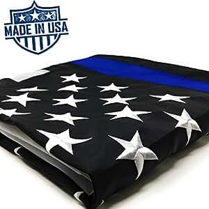 Delgada línea azul bandera 3x 5ft (lote de 2)–100% US fabricado con estrellas bordadas y cosido rayas–Latón arandelas–Protección UV–azul vida tema bandera Honoring oficiales de aplicación de la ley