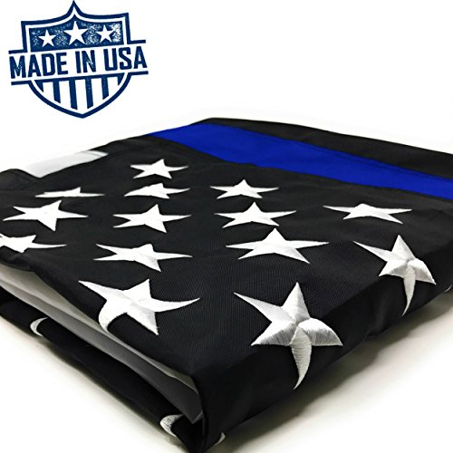 Thin Blue Line Flag: 100% US Made 3x5 ft with Embroidered Stars - Sewn Stripes - Brass Grommets - UV Protection - Black White and Blue American Police Flag Honoring Law Enforcement Officers