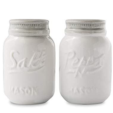Vintage Mason Jar Salt & Pepper Shakers by Comfify - Adorable Decorative Mason Jar Décor for Vintage, Rustic, Shabby Chic - Sturdy Ceramic in White - 3.5 oz. Cap.