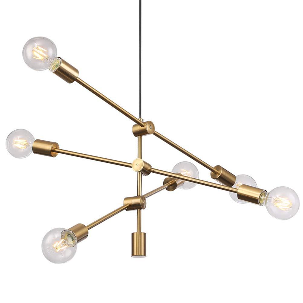 シャンデリア シャンデリアメタルペンダント照明現代のシンプルなキッチン吊りランプダイニングルーム天井照明器具(ゴールド6ヘッド)   B07NVMWHDR