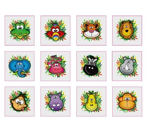 12 animale della giungla temperary adesivo tatuaggi hendbrandt n51 038
