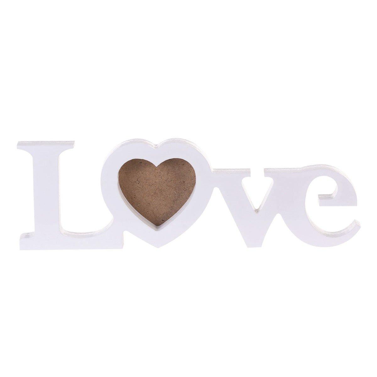 Amazon.com: WINOMO 3-Inch LOVE photo frame DIY Wedding Picture Frame Wooden Craft Photo Frame (White): Home & Kitchen