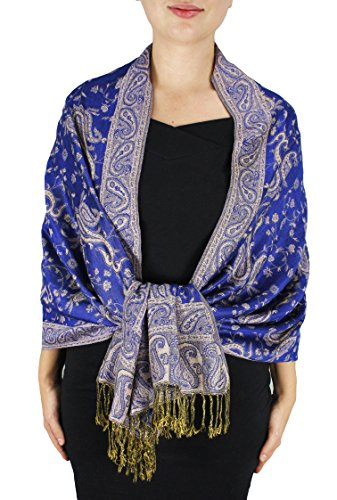 Layer Scarf - Peach Couture Elegant Double Layer Reversible Paisley Pashmina Shawl Wrap Scarf Royal Blue