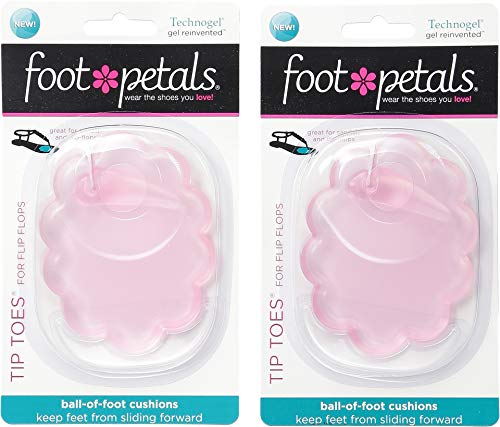 (Foot Petals Women's Technogel Tip Toes For Flip Flops 2-Pair Pack Pink Gel One Size)