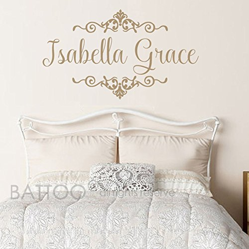 BATTOO Baby Girls Name Wall Decal with Beautiful Shabby Chic Frame Accents Wall Art - Nursery Girl or Boy Vinyl Personalized Name Wall - Wall Personalized Vinyl Art