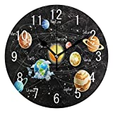 Domoko Home Decor Universe Galaxy Solar System Black Round Acrylic Wall Clock Non Ticking Silent Clock Art for Living Room Kitchen Bedroom
