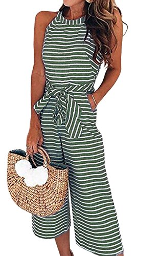 ECOWISH Women's Summer Striped Sleeveless Waist Belted Zipper Back Wide Leg Jumpsuit Romper with Pockets 0930 Green Small