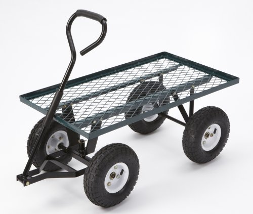 Farm & Ranch FR100F Steel Flatbed Utility Cart with Padded Pull Handle and 10-Inch Pneumatic Tires, 300-Pound Capacity, 34-Inches by 18-Inches, Green Finish