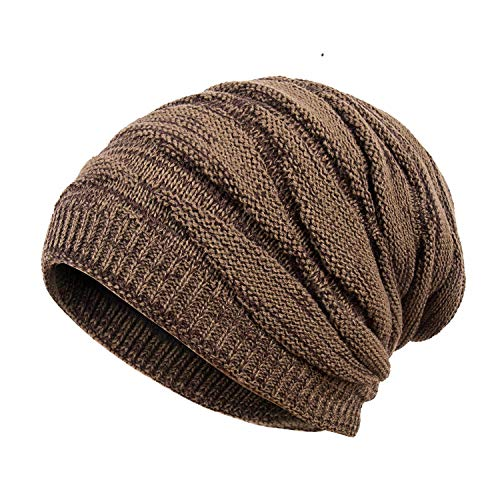 Motaierly Men's&Boy's Fashion Winter Plus Velvet Warm Knitting Hats Wool Baggy Slouchy Beanie Caps Brown