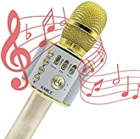 Microphone KAMLE Wireless Bluetooth Karaoke - For Valentine's Day & Birthday Day Party Portable Hand Speaker Stereo Player KTV Karaoke Mic for iPhone/Android/iPad/Sony/TV and All Smartphone(Gold)