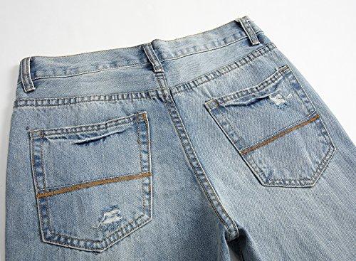 NITAGUT Men's Ripped Slim Fit Tapered Leg Jeans Light Blue-US 32