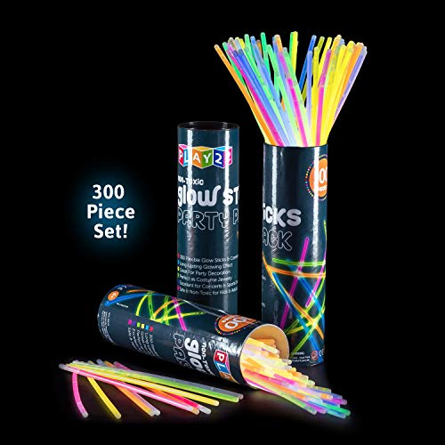 "Play22 Glow Sticks Bulk 300 Pack 8"" Ultra Bright Glow Sticks Party Pack Multicolor - 300 Glowsticks & 300 Connectors, Total 600 PCS - Glow Sticks Necklaces and Bracelets Enjoyable for Adults and Kids"